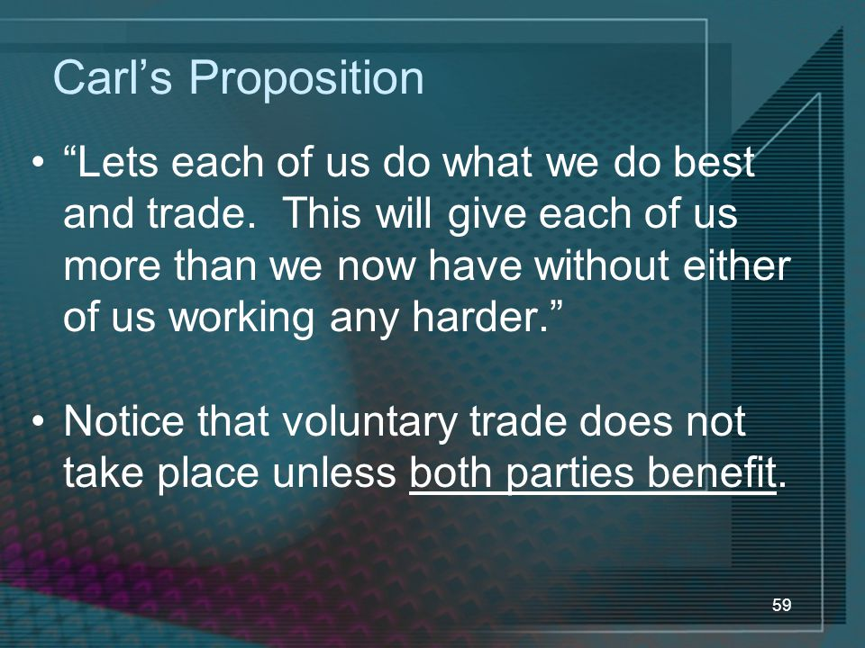 59 Carl's Proposition Lets each of us do what we do best and trade.