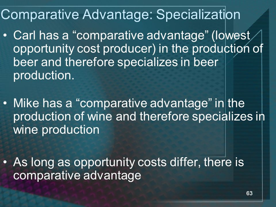 63 Comparative Advantage: Specialization Carl has a comparative advantage (lowest opportunity cost producer) in the production of beer and therefore specializes in beer production.