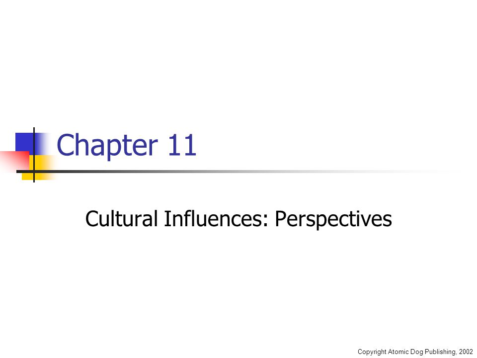 Copyright Atomic Dog Publishing, 2002 Chapter 11 Cultural Influences: Perspectives