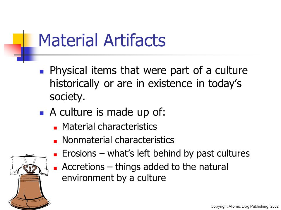 Copyright Atomic Dog Publishing, 2002 Material Artifacts Physical items that were part of a culture historically or are in existence in today's societ