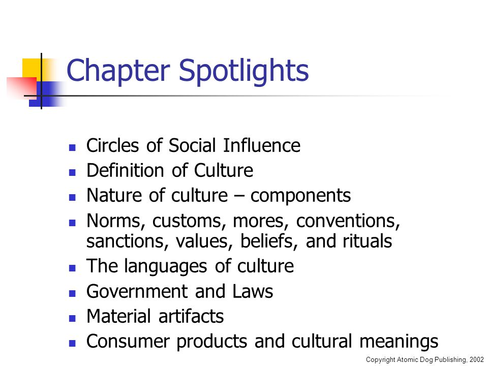 Copyright Atomic Dog Publishing, 2002 Chapter Spotlights Circles of Social Influence Definition of Culture Nature of culture – components Norms, custo