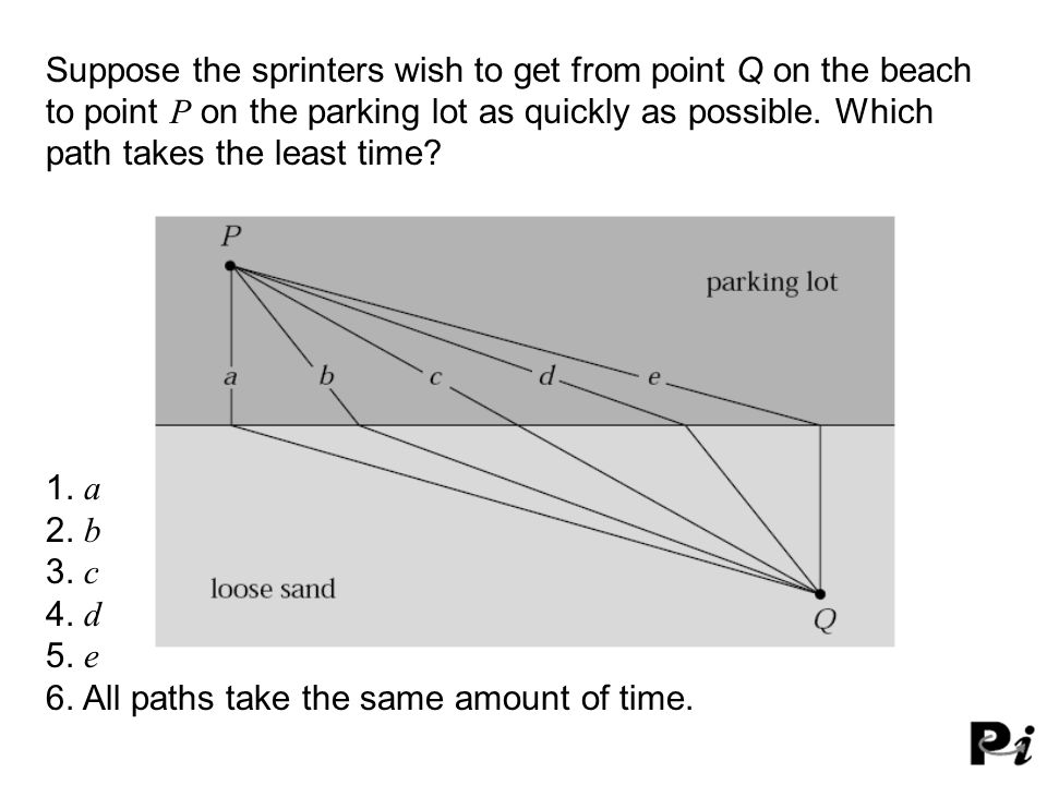 Suppose the sprinters wish to get from point Q on the beach to point P on the parking lot as quickly as possible. Which path takes the least time? 1.