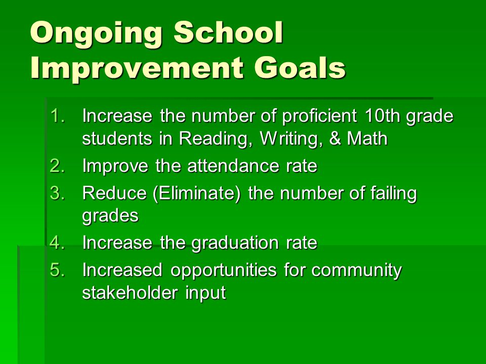 Ongoing School Improvement Goals 1.Increase the number of proficient 10th grade students in Reading, Writing, & Math 2.Improve the attendance rate 3.Reduce (Eliminate) the number of failing grades 4.Increase the graduation rate 5.Increased opportunities for community stakeholder input