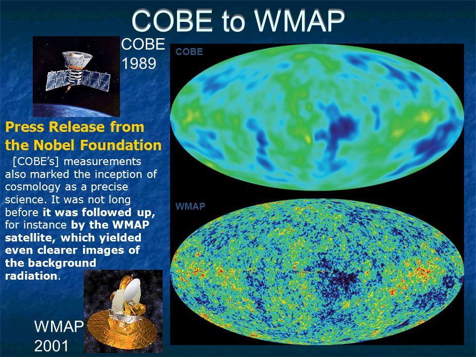 COBE to WMAP COBE WMAP COBE 1989 WMAP 2001 [COBE's] measurements also marked the inception of cosmology as a precise science.