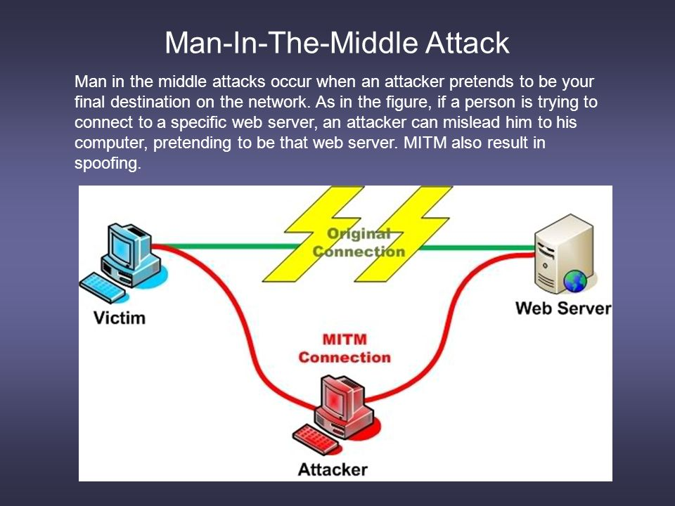Man-In-The-Middle Attack Man in the middle attacks occur when an attacker pretends to be your final destination on the network.