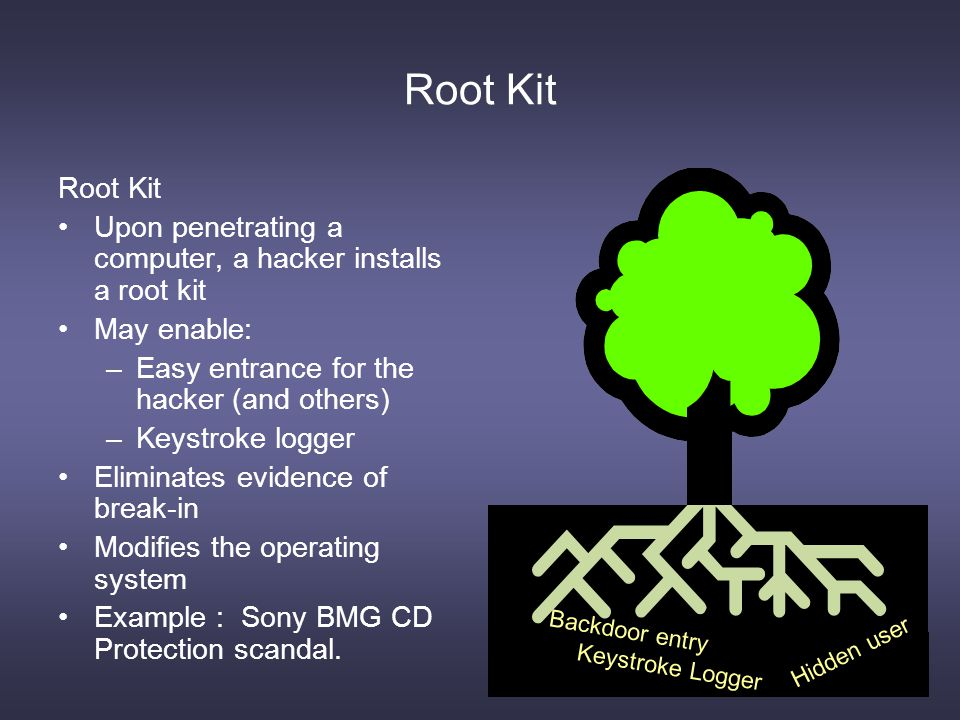 Root Kit Upon penetrating a computer, a hacker installs a root kit May enable: –Easy entrance for the hacker (and others) –Keystroke logger Eliminates evidence of break-in Modifies the operating system Example : Sony BMG CD Protection scandal.