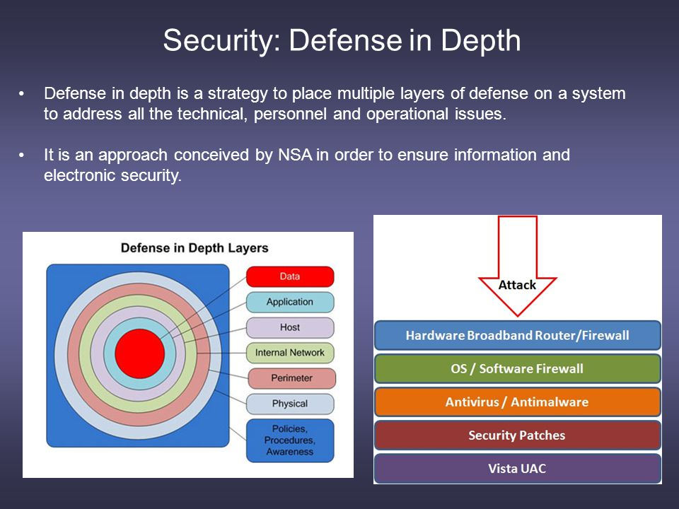 Security: Defense in Depth Defense in depth is a strategy to place multiple layers of defense on a system to address all the technical, personnel and operational issues.