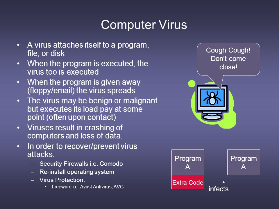 Computer Virus A virus attaches itself to a program, file, or disk When the program is executed, the virus too is executed When the program is given away (floppy/email) the virus spreads The virus may be benign or malignant but executes its load pay at some point (often upon contact) Viruses result in crashing of computers and loss of data.