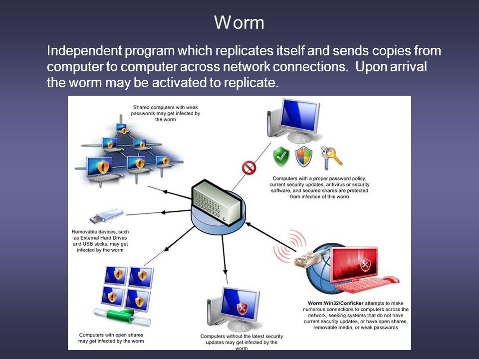 Logic Bomb Trojan Horse Logic Bomb: Malware logic will execute upon certain conditions.