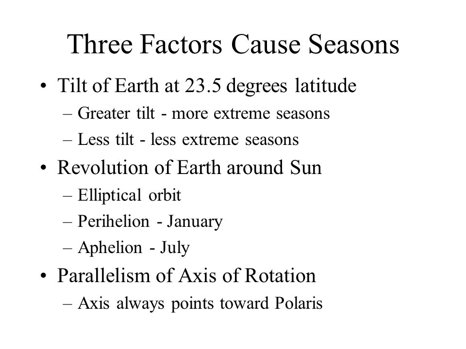 Three Factors Cause Seasons Tilt of Earth at 23.5 degrees latitude –Greater tilt - more extreme seasons –Less tilt - less extreme seasons Revolution of Earth around Sun –Elliptical orbit –Perihelion - January –Aphelion - July Parallelism of Axis of Rotation –Axis always points toward Polaris