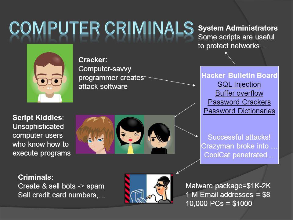  Virus  Worm  Trojan Horse / Logic Bomb  Social Engineering  Rootkits  Botnets / Zombies
