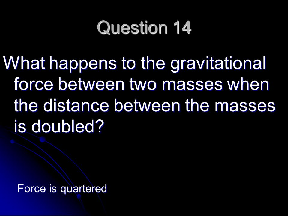 Question 14 What happens to the gravitational force between two masses when the distance between the masses is doubled.