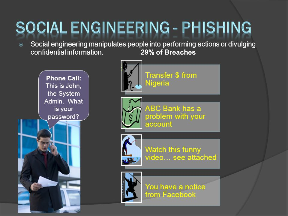  Social engineering manipulates people into performing actions or divulging confidential information.