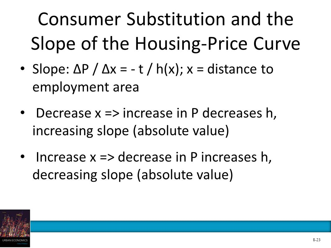Consumer Substitution and the Slope of the Housing-Price Curve Slope: ∆P / ∆x = - t / h(x); x = distance to employment area Decrease x => increase in P decreases h, increasing slope (absolute value) Increase x => decrease in P increases h, decreasing slope (absolute value) 8-23