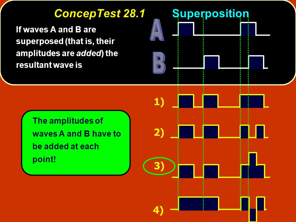 ConcepTest 28.2aPhase Difference I The two waves shown are 1) out of phase by 180 o 2) out of phase by 90 o 3) out of phase by 45 o 4) out of phase by 360 o 5) in phase