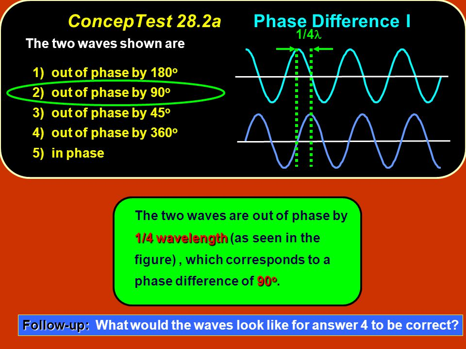 ConcepTest 28.2bPhase Difference II 1) out of phase by 180 o 2) out of phase, but not by 180 o 3) in phase Two light sources emit waves of = 1 m which are in phase.