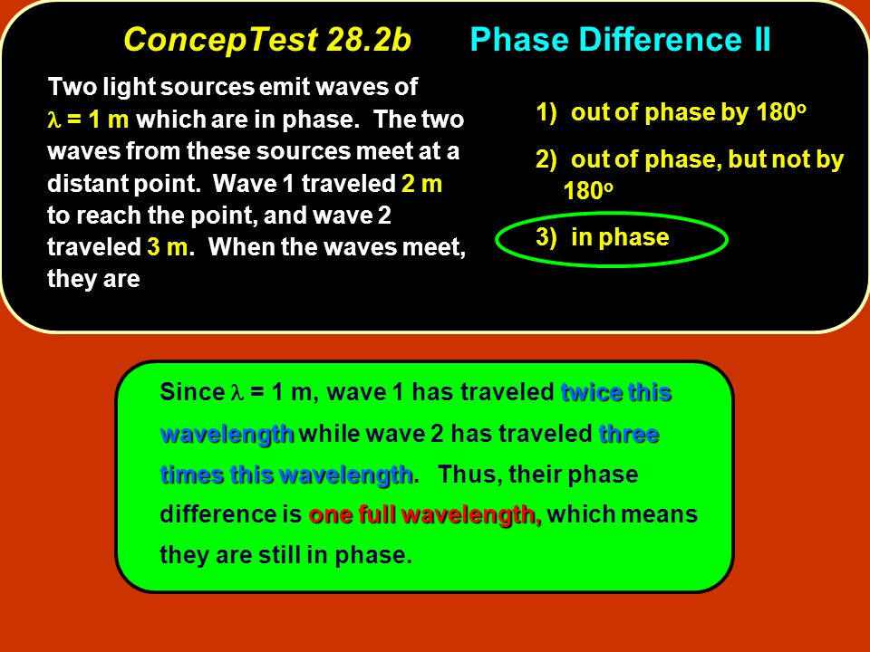 twice this wavelengththree times this wavelength one full wavelength, Since = 1 m, wave 1 has traveled twice this wavelength while wave 2 has traveled three times this wavelength.
