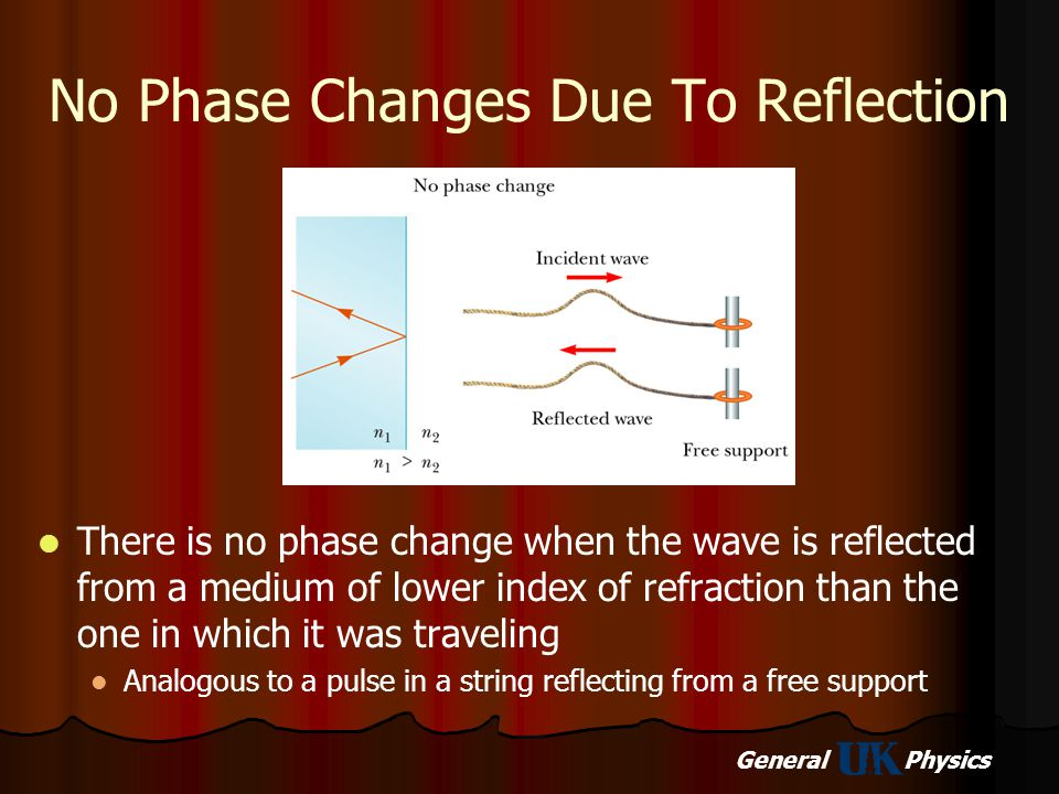 General Physics No Phase Changes Due To Reflection There is no phase change when the wave is reflected from a medium of lower index of refraction than