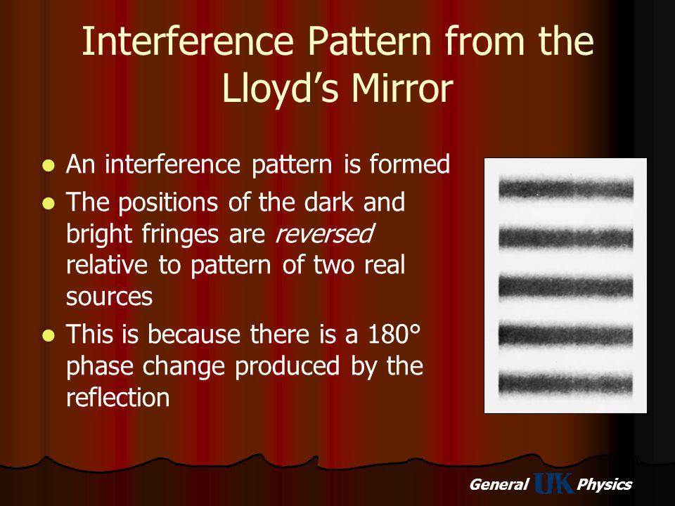 General Physics Interference Pattern from the Lloyd's Mirror An interference pattern is formed The positions of the dark and bright fringes are revers