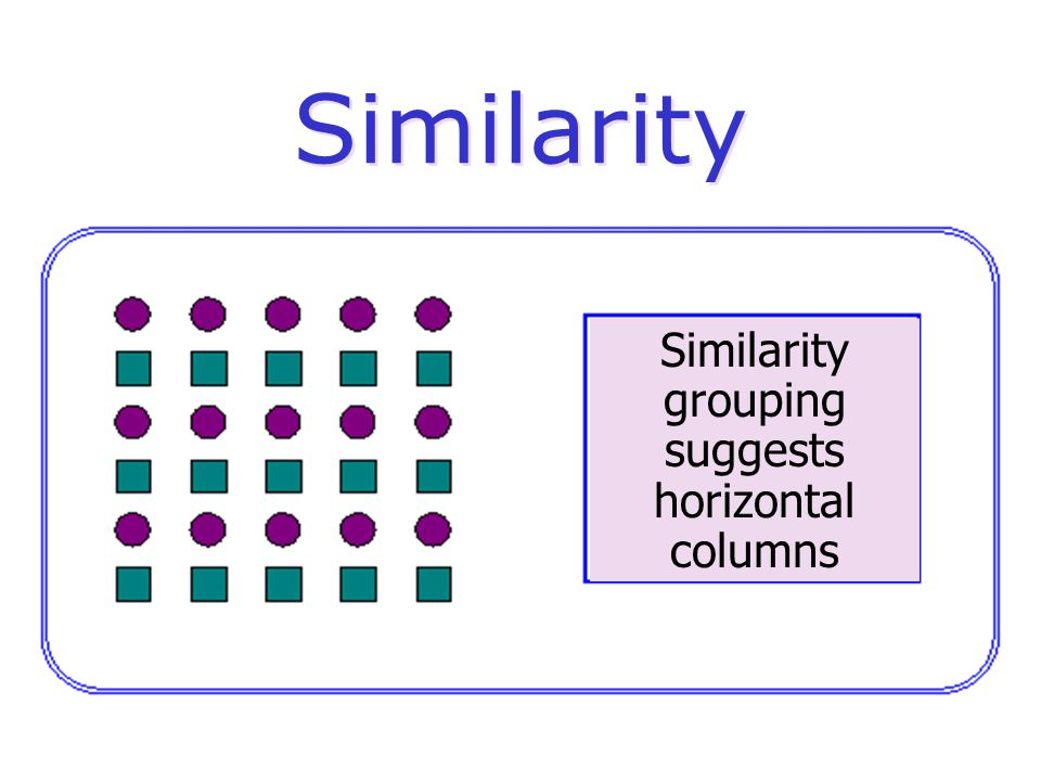 Similarity Similarity grouping suggests horizontal columns