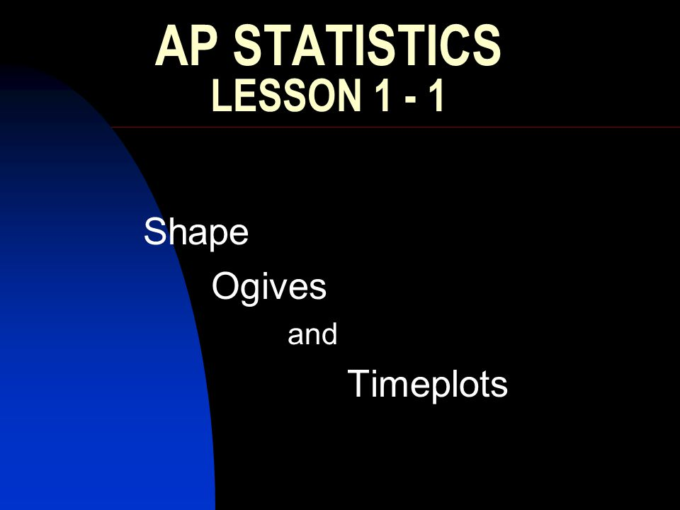 Essential Question: What shapes can be expected and how are Ogives and Timeplots made.