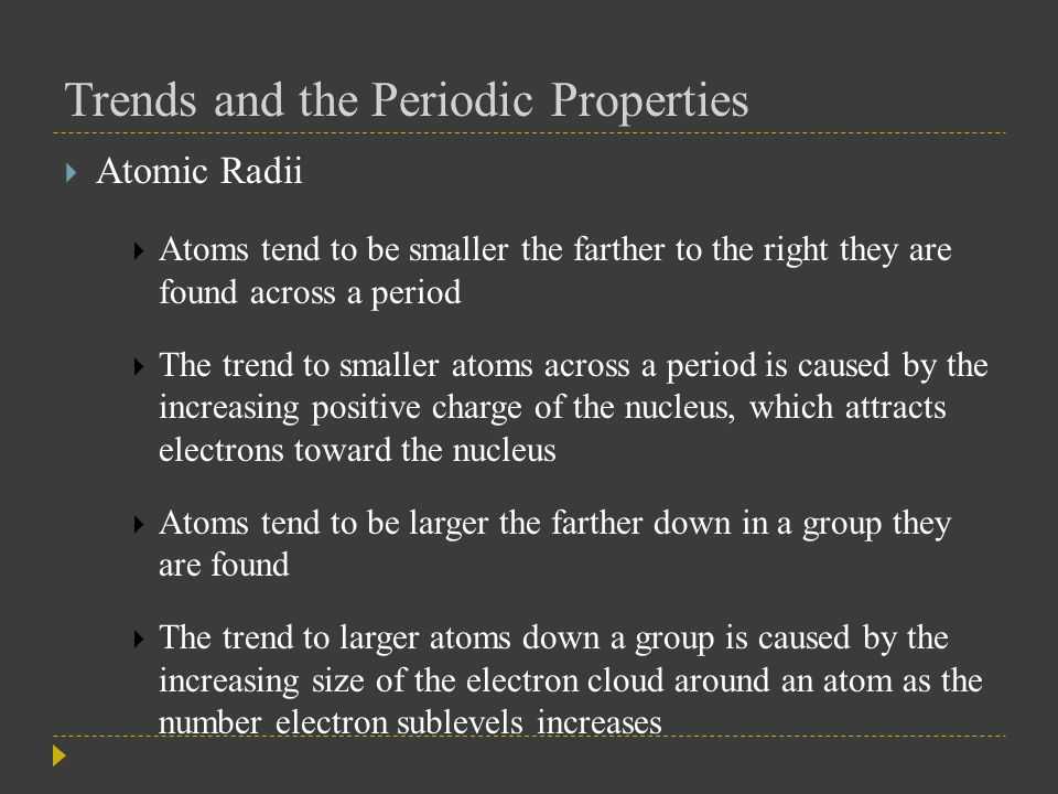 Trends and the Periodic Properties  Valence Electrons