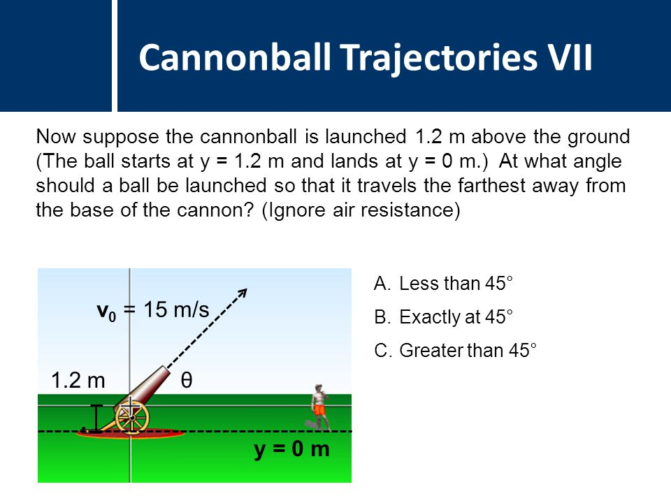 Question Title Cannonball Trajectories VII A.Less than 45° B.Exactly at 45° C.Greater than 45° 1.2 mθ v 0 = 15 m/s Now suppose the cannonball is launched 1.2 m above the ground (The ball starts at y = 1.2 m and lands at y = 0 m.) At what angle should a ball be launched so that it travels the farthest away from the base of the cannon.
