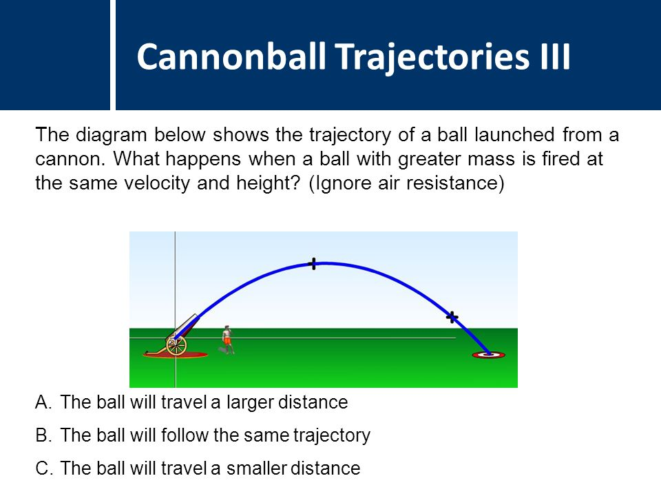 Comments Answer: B Justification: Without air resistance, the mass of the ball does not affect its trajectory.