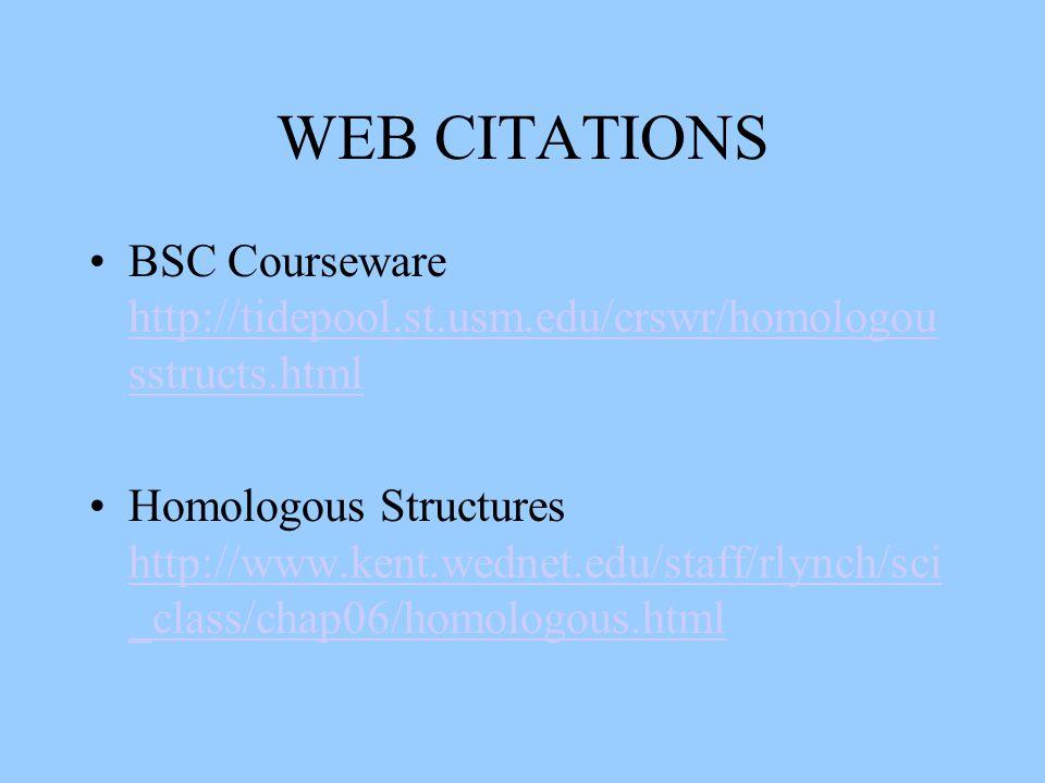 WEB CITATIONS BSC Courseware http://tidepool.st.usm.edu/crswr/homologou sstructs.html http://tidepool.st.usm.edu/crswr/homologou sstructs.html Homologous Structures http://www.kent.wednet.edu/staff/rlynch/sci _class/chap06/homologous.html http://www.kent.wednet.edu/staff/rlynch/sci _class/chap06/homologous.html