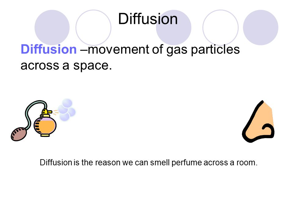 Diffusion Diffusion –movement of gas particles across a space. Diffusion is the reason we can smell perfume across a room.