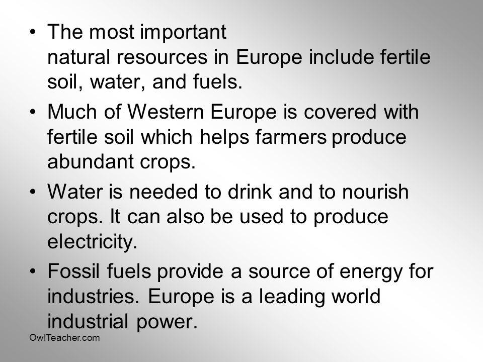 OwlTeacher.com The most important natural resources in Europe include fertile soil, water, and fuels. Much of Western Europe is covered with fertile s