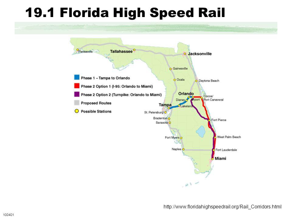 19.1 Florida High Speed Rail http://www.floridahighspeedrail.org/Rail_Corridors.html 100401