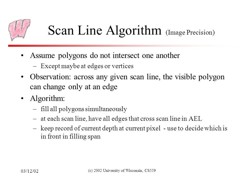 03/12/02 (c) 2002 University of Wisconsin, CS559 Scan Line Algorithm (2) zszs xsxs zszs xsxs zszs xsxs Spans Where polygons overlap, draw front polygon