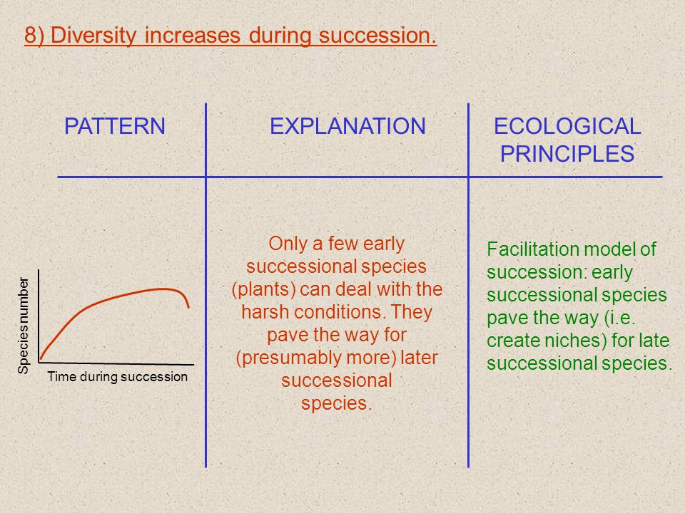 8) Diversity increases during succession.