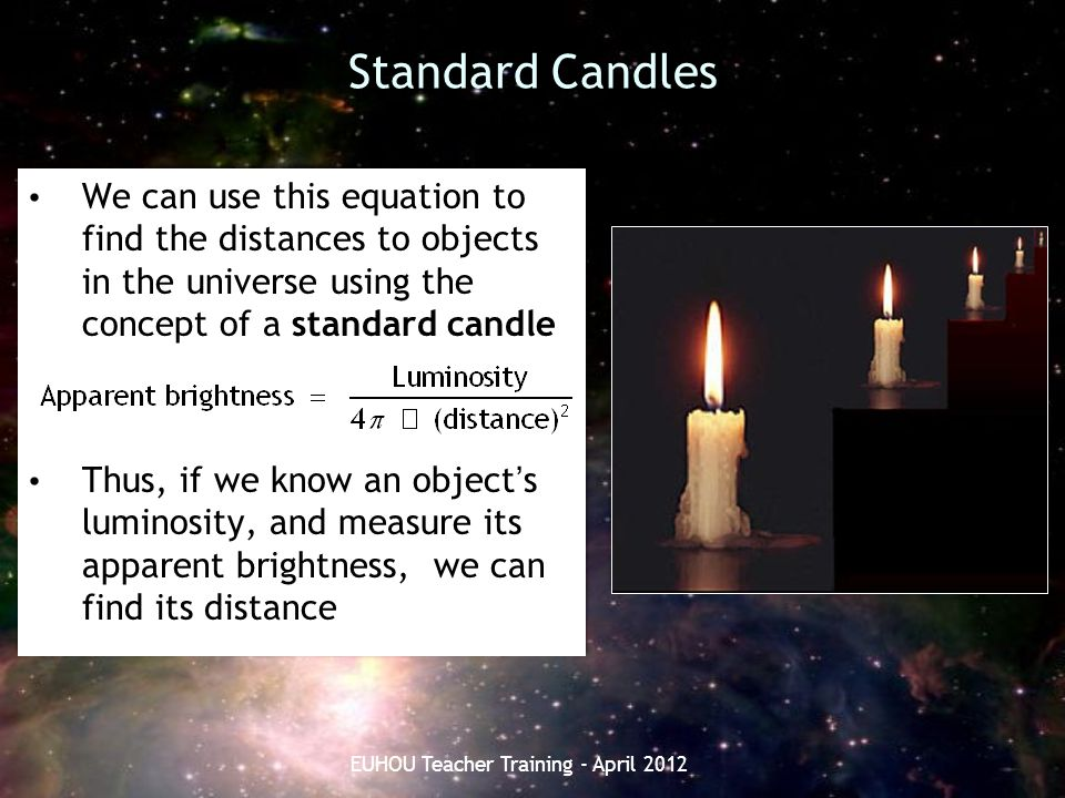 Standard Candles We can use this equation to find the distances to objects in the universe using the concept of a standard candle Thus, if we know an