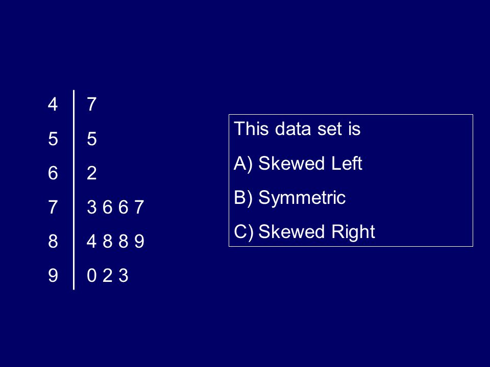 4 5 6 7 8 9 7 5 2 3 6 6 7 4 8 8 9 0 2 3 This data set is A)Skewed Left B)Symmetric C)Skewed Right