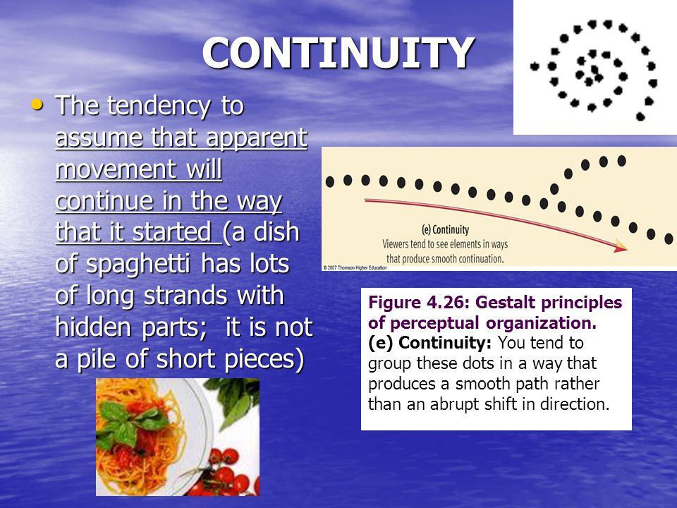 CONTINUITY The tendency to assume that apparent movement will continue in the way that it started (a dish of spaghetti has lots of long strands with hidden parts; it is not a pile of short pieces) The tendency to assume that apparent movement will continue in the way that it started (a dish of spaghetti has lots of long strands with hidden parts; it is not a pile of short pieces) Figure 4.26: Gestalt principles of perceptual organization.