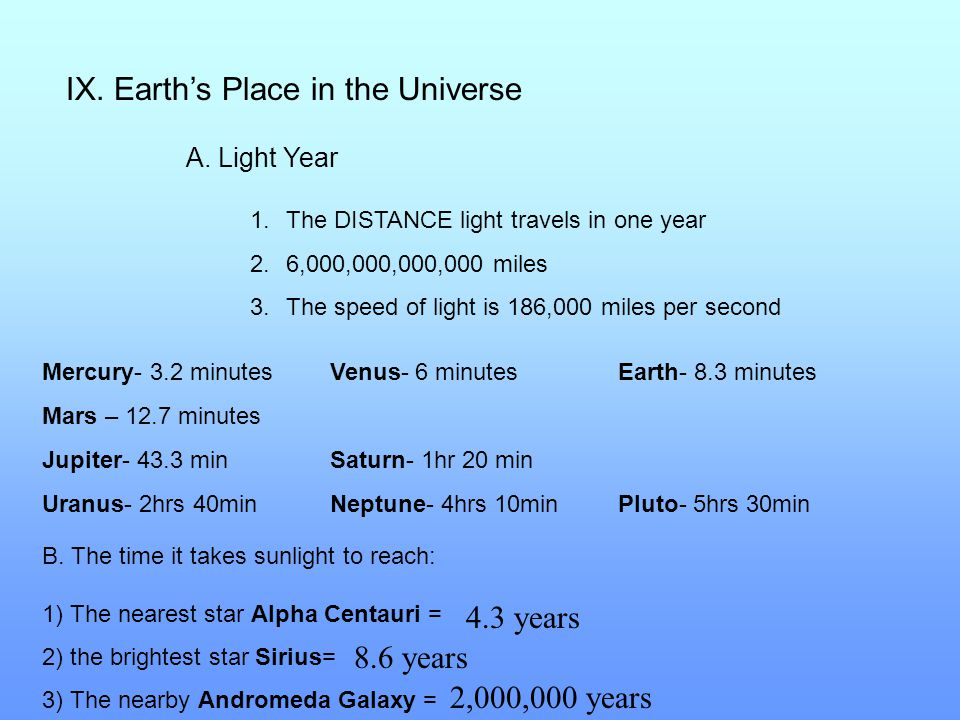 IX. Earth's Place in the Universe A. Light Year 1.The DISTANCE light travels in one year 2.6,000,000,000,000 miles 3.The speed of light is 186,000 mil