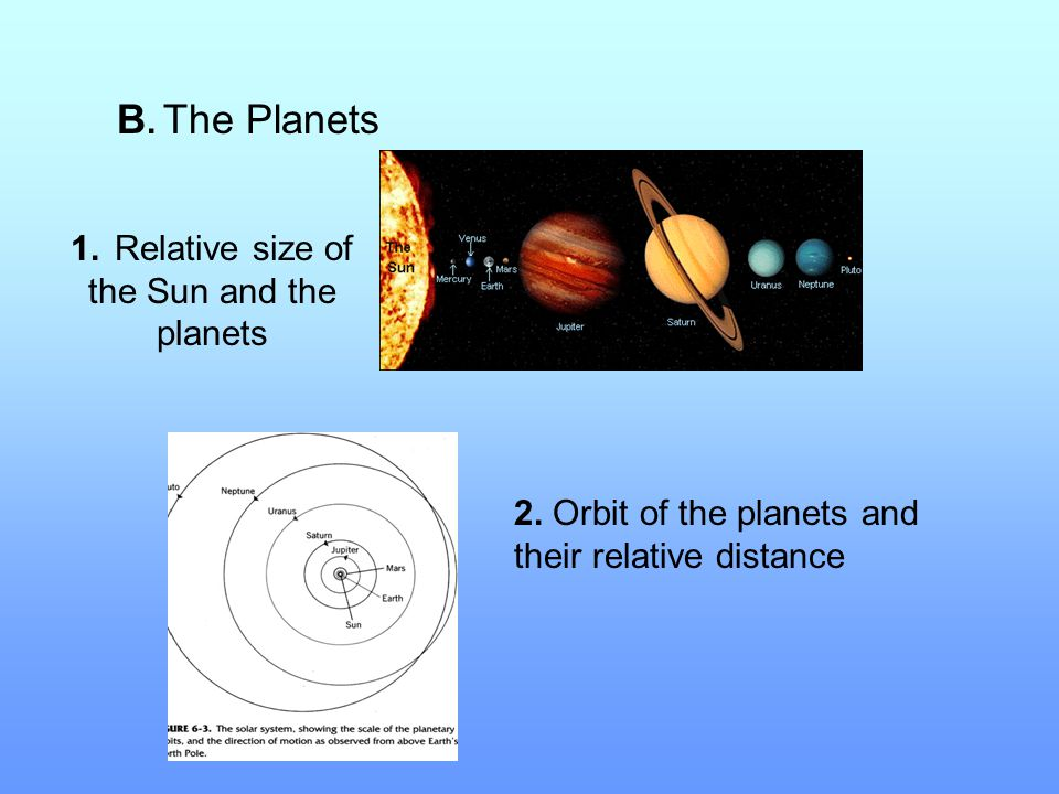 B. The Planets 1. Relative size of the Sun and the planets 2. Orbit of the planets and their relative distance