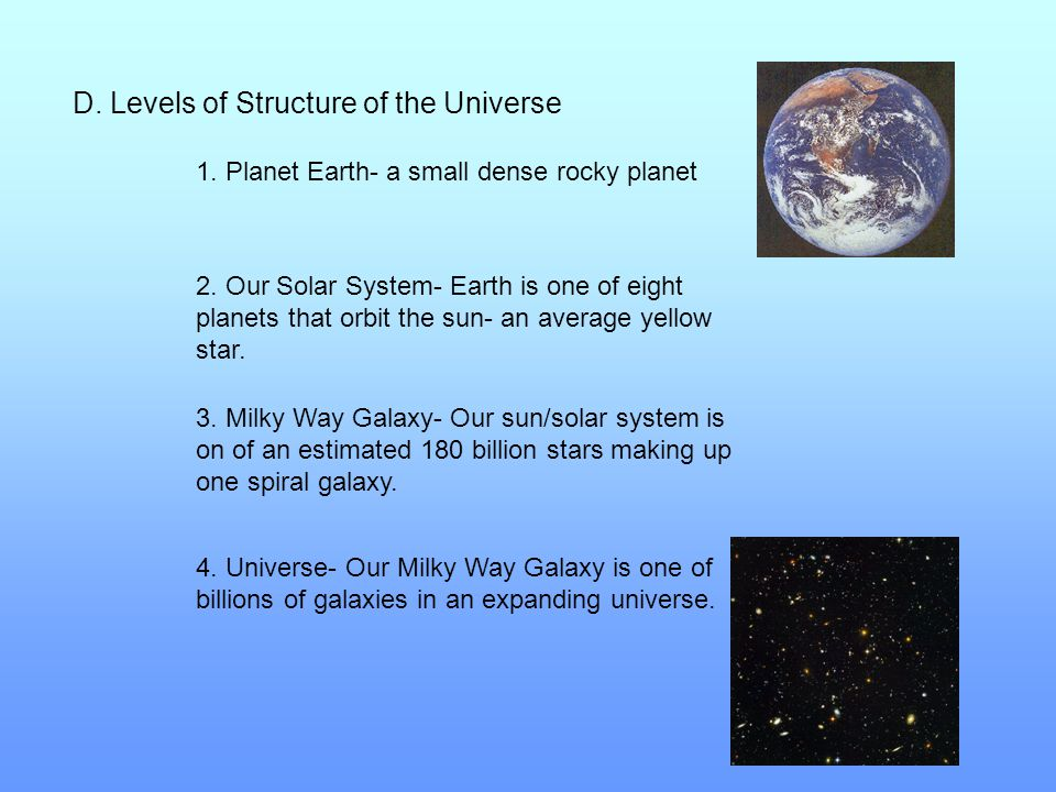 D. Levels of Structure of the Universe 1. Planet Earth- a small dense rocky planet 2. Our Solar System- Earth is one of eight planets that orbit the s