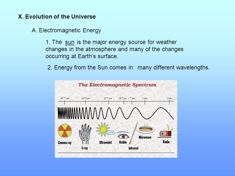 X. Evolution of the Universe A. Electromagnetic Energy 1. The is the major energy source for weather changes in the atmosphere and many of the changes