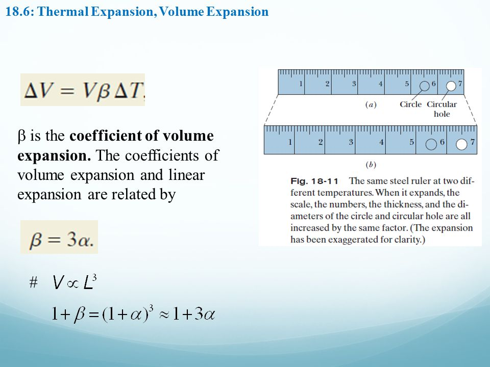 18.6: Thermal Expansion, Volume Expansion  is the coefficient of volume expansion. The coefficients of volume expansion and linear expansion are rela