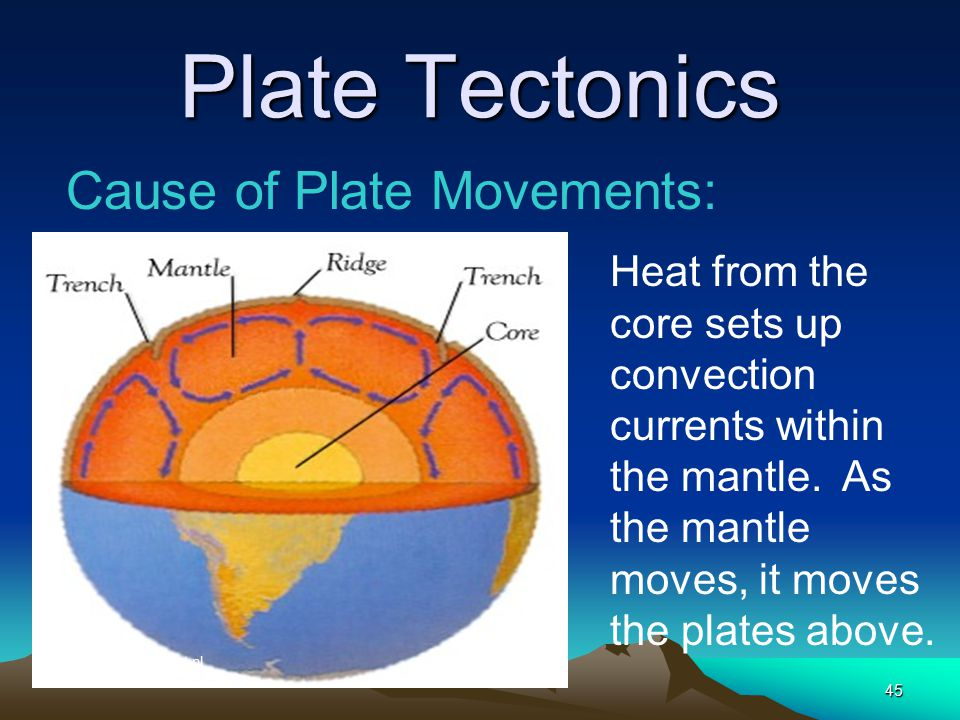 Plate Tectonics Cause of Plate Movements: Heat from the core sets up convection currents within the mantle. As the mantle moves, it moves the plates a