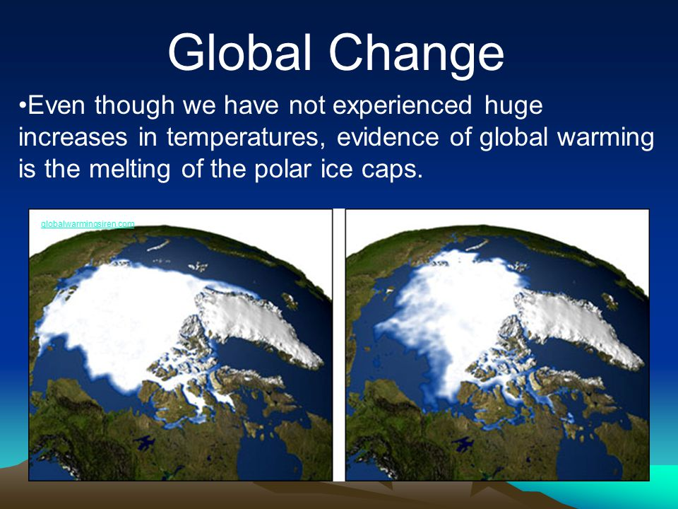 Global Change Even though we have not experienced huge increases in temperatures, evidence of global warming is the melting of the polar ice caps. glo
