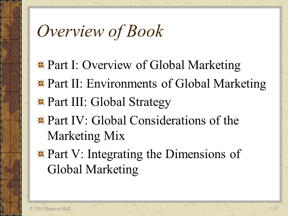 © 2005 Prentice Hall1-23 Overview of Book Part I: Overview of Global Marketing Part II: Environments of Global Marketing Part III: Global Strategy Part IV: Global Considerations of the Marketing Mix Part V: Integrating the Dimensions of Global Marketing