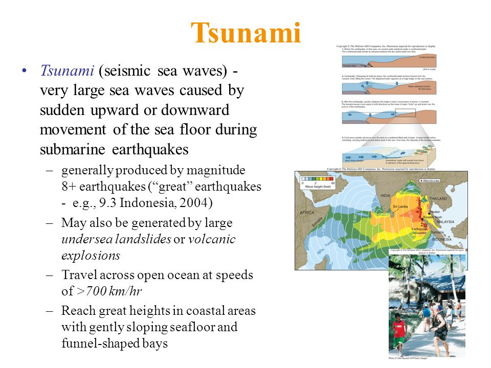 Tsunami Tsunami (seismic sea waves) - very large sea waves caused by sudden upward or downward movement of the sea floor during submarine earthquakes –generally produced by magnitude 8+ earthquakes ( great earthquakes - e.g., 9.3 Indonesia, 2004) –May also be generated by large undersea landslides or volcanic explosions –Travel across open ocean at speeds of >700 km/hr –Reach great heights in coastal areas with gently sloping seafloor and funnel-shaped bays