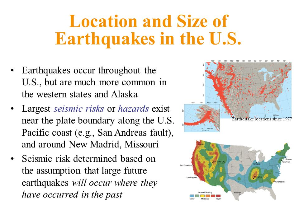 Location and Size of Earthquakes in the U.S.