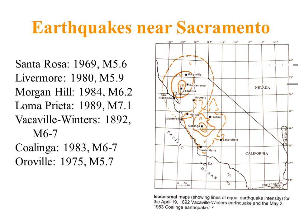 Santa Rosa: 1969, M5.6 Livermore: 1980, M5.9 Morgan Hill: 1984, M6.2 Loma Prieta: 1989, M7.1 Vacaville-Winters: 1892, M6-7 Coalinga: 1983, M6-7 Oroville: 1975, M5.7 Earthquakes near Sacramento