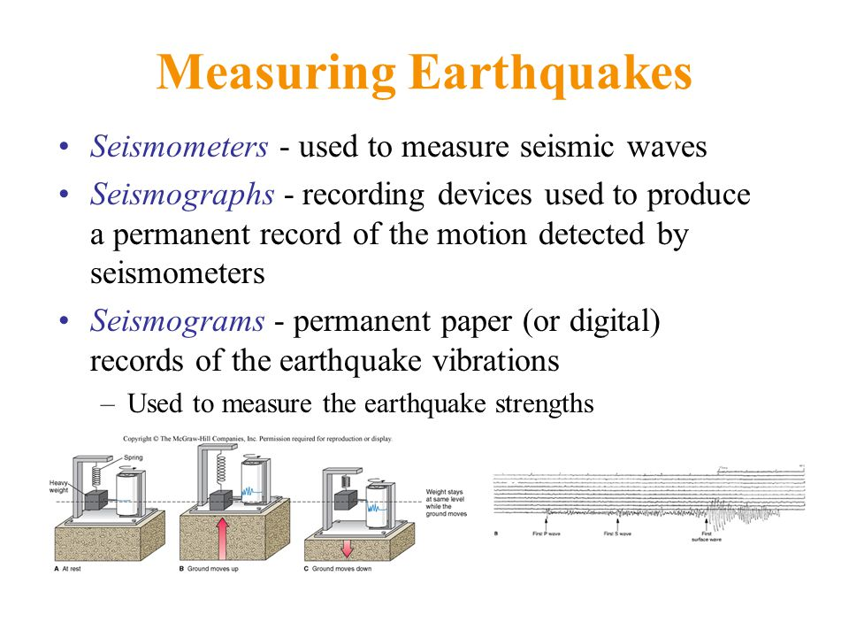 Measuring Earthquakes Seismometers - used to measure seismic waves Seismographs - recording devices used to produce a permanent record of the motion detected by seismometers Seismograms - permanent paper (or digital) records of the earthquake vibrations –Used to measure the earthquake strengths