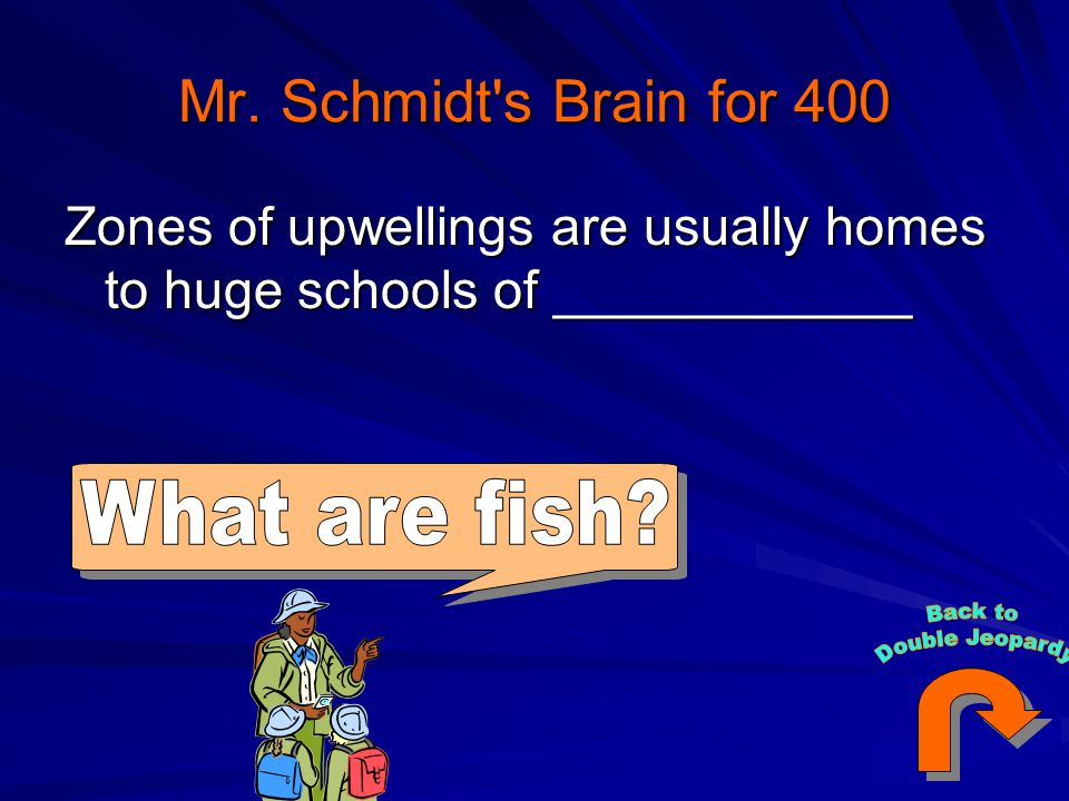 Mr. Schmidt's Brain for 400 Zones of upwellings are usually homes to huge schools of ____________
